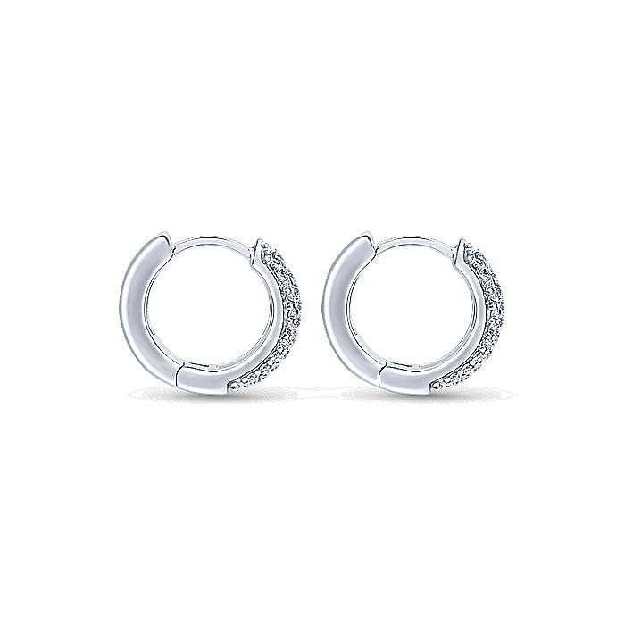 14K White Gold 15mm Round Diamond Huggie Earrings