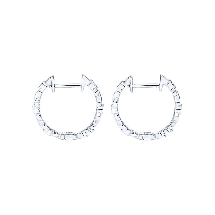 14K White Gold 15mm Twisted Bezel Set Diamond Huggie Earrings