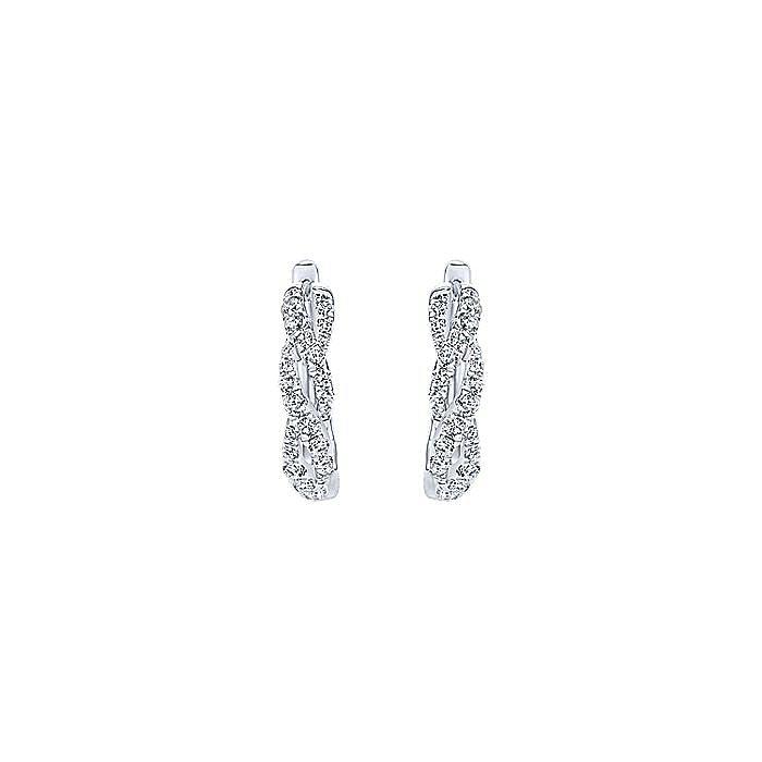 14K White Gold 15mm Twisted Diamond Huggie Earrings