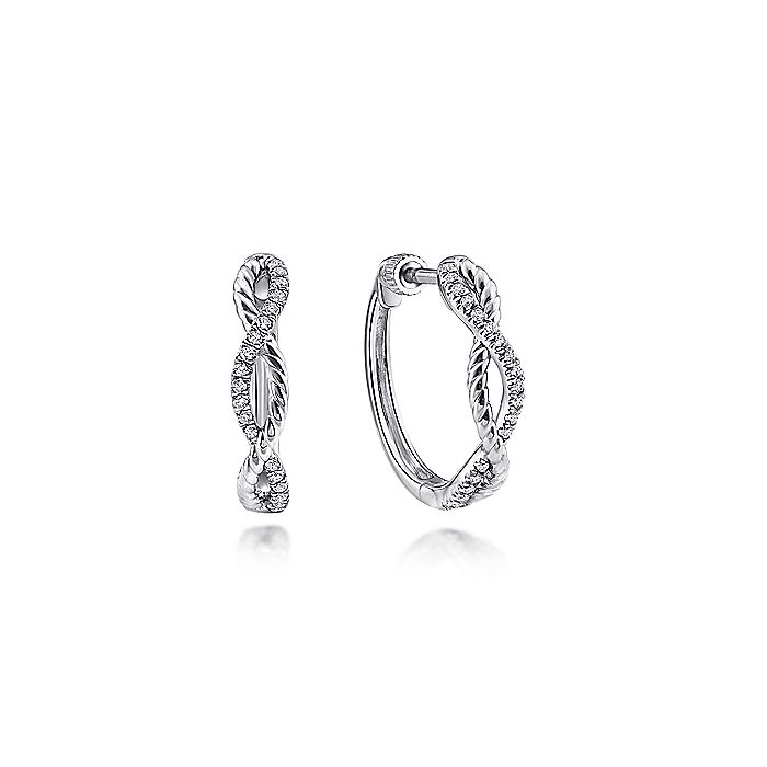 14K White Gold 15mm Twisted Diamond Huggies