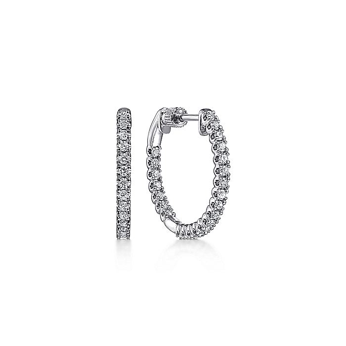 14K White Gold 20MM Diamond Earrings