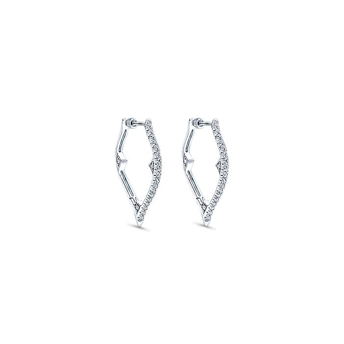 14K White Gold 20mm Diamond Earrings