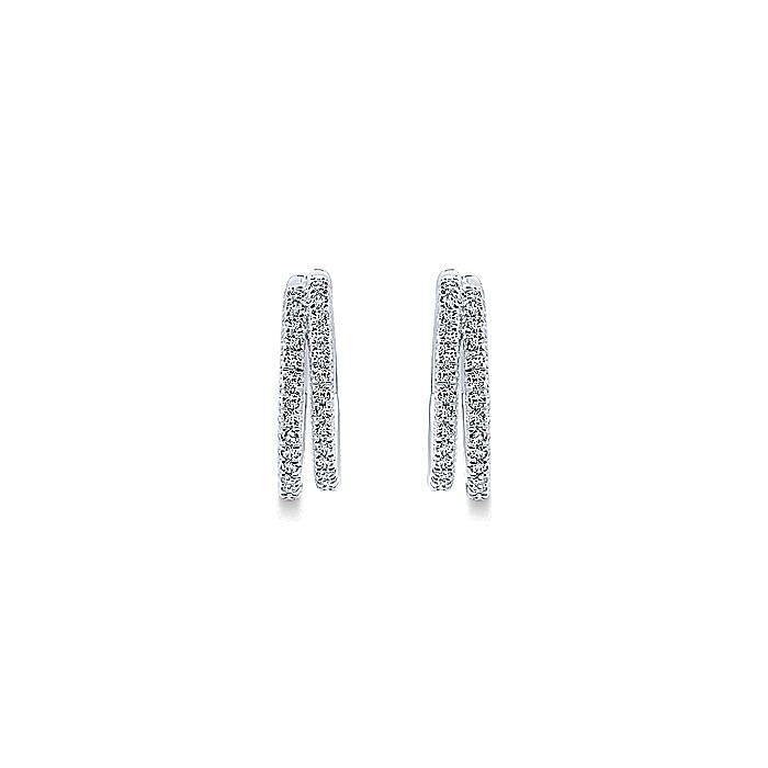 14K White Gold 20mm Diamond Hoop Earrings