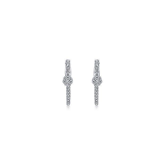 14K White Gold 20mm Diamond Huggie Earrings