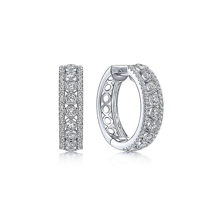 14K White Gold 20mm Diamond Huggies