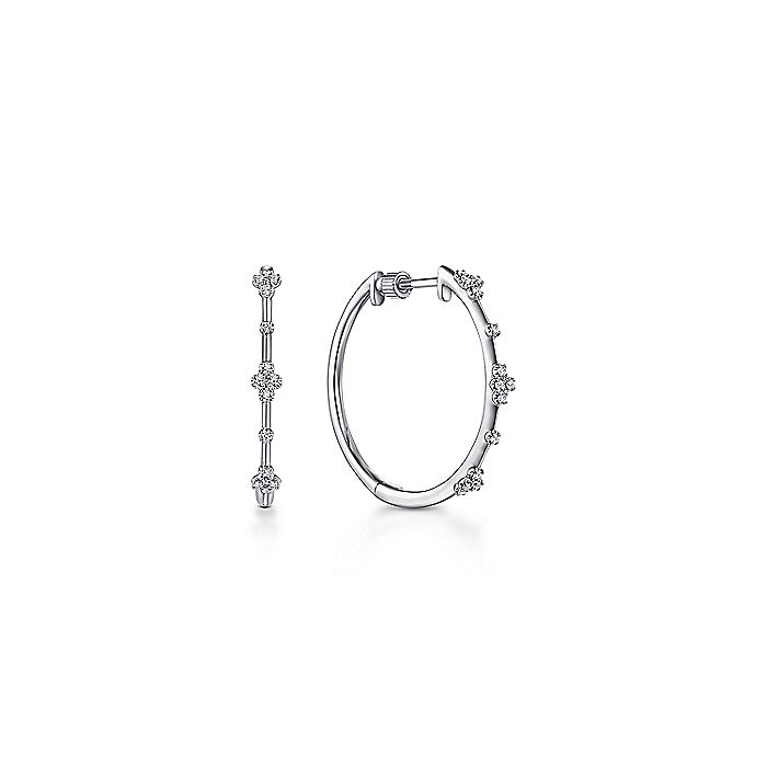 14K White Gold 20mm Round Diamond Classic Hoop Earrings