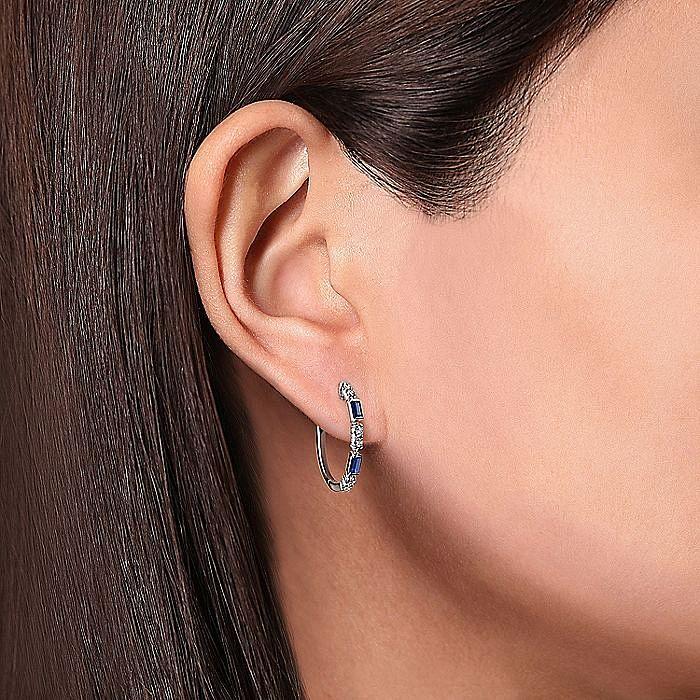 14K White Gold 20mm Sapphire and Diamond Hoop Earrings