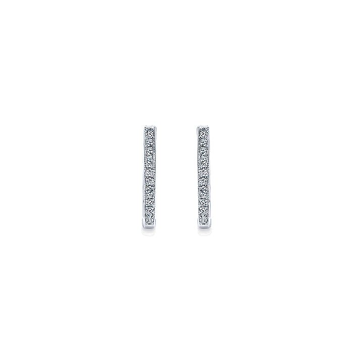 14K White Gold 20mm Slim Pavé Diamond Huggies
