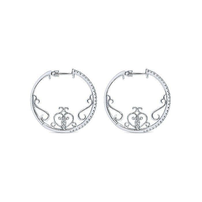 14K White Gold 25MM Fashion Earrings