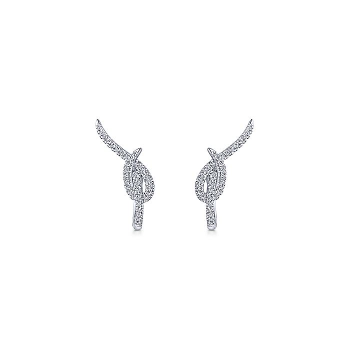 14K White Gold 25mm Knot Diamond Huggie Earrings