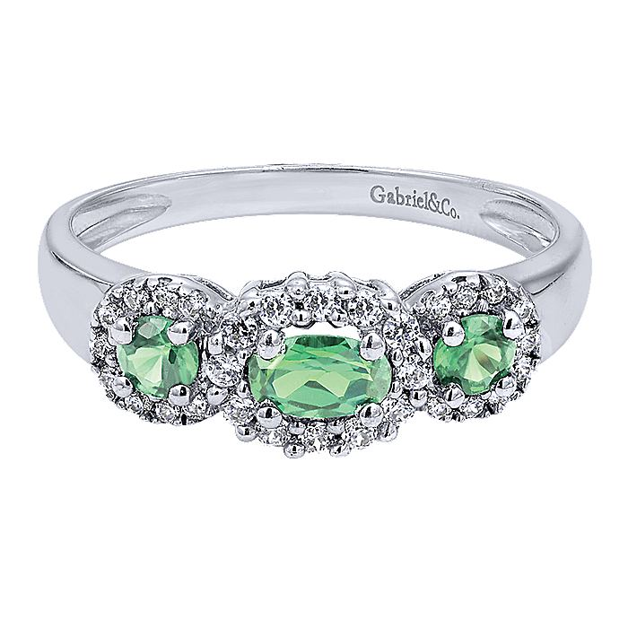 14K White Gold 3 Stone Emerald and Diamond Halo Ring
