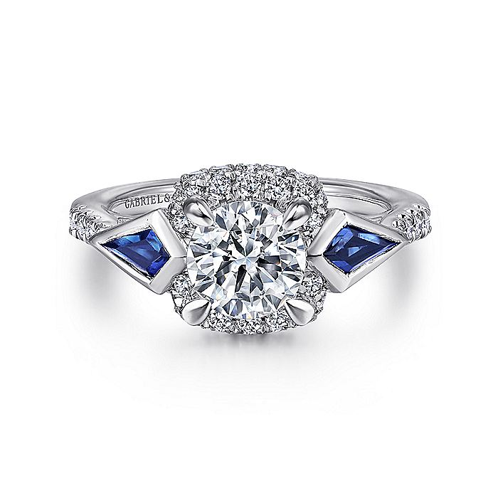 14K White Gold 3 Stone Sapphire and Diamond Engagement Ring
