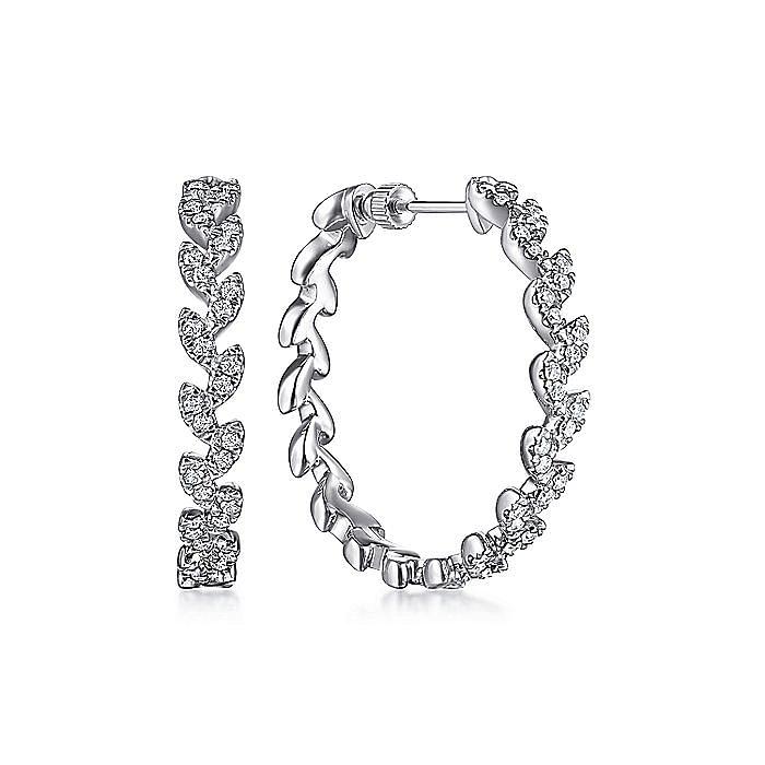 14K White Gold 30MM Diamond Classic Hoop Earrings