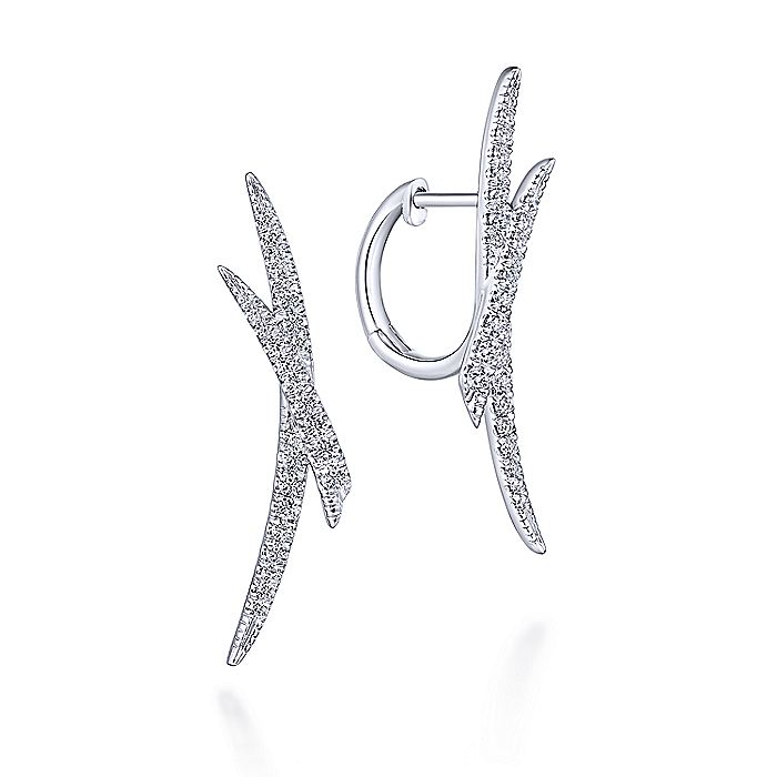 14K White Gold 30mm Split Diamond Huggie Earrings