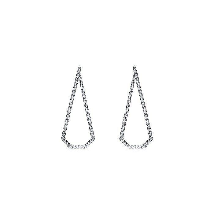 14K White Gold 40mm Long Geometric Open Hoop Diamond Earrings