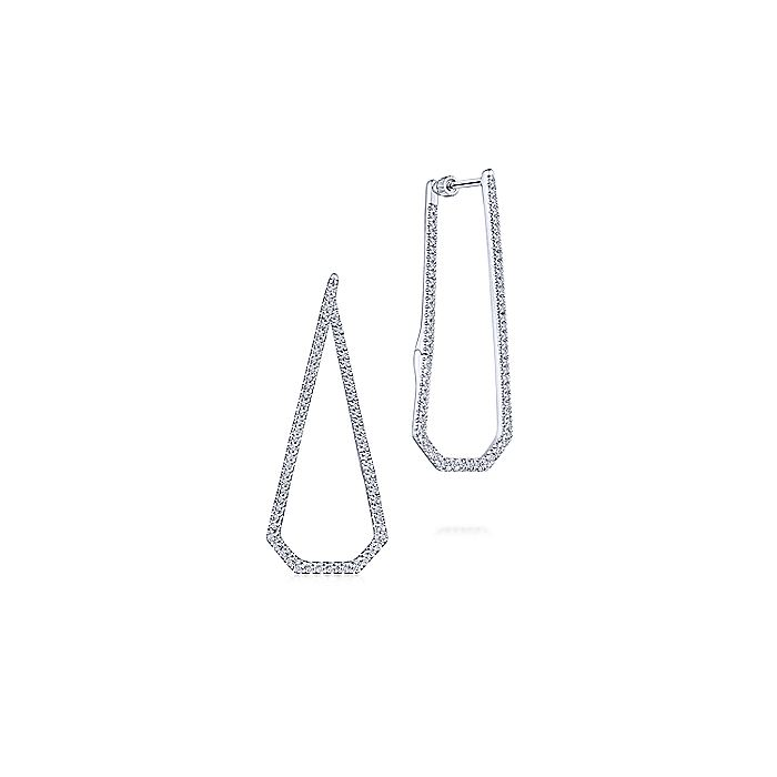 14K White Gold 40mm Long Geometric Open Hoop Earrings