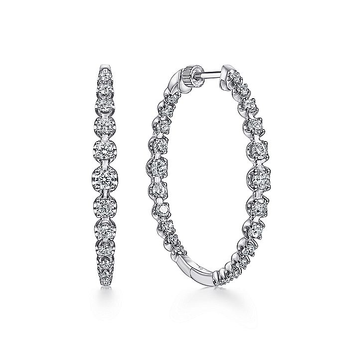14K White Gold 40mm Round Classic Inside Out Diamond Hoop Earrings