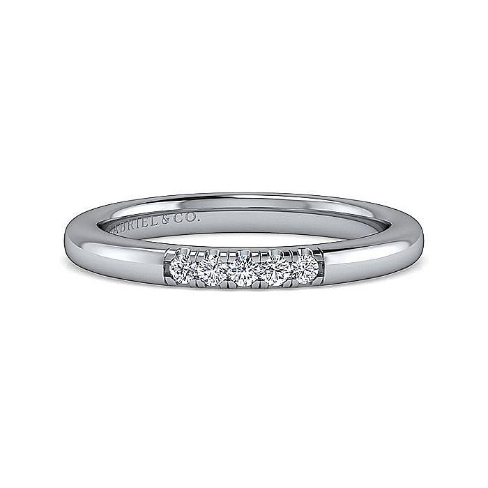 14K White Gold 5 Stone French Pavé Set Diamond Wedding Band