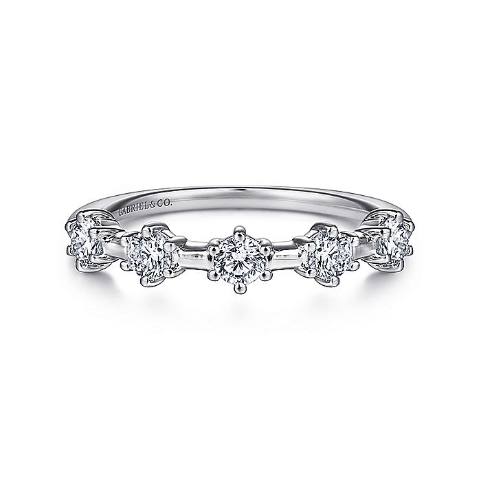 14K White Gold 5 Stone Stations Stackable Diamond Anniversary Band