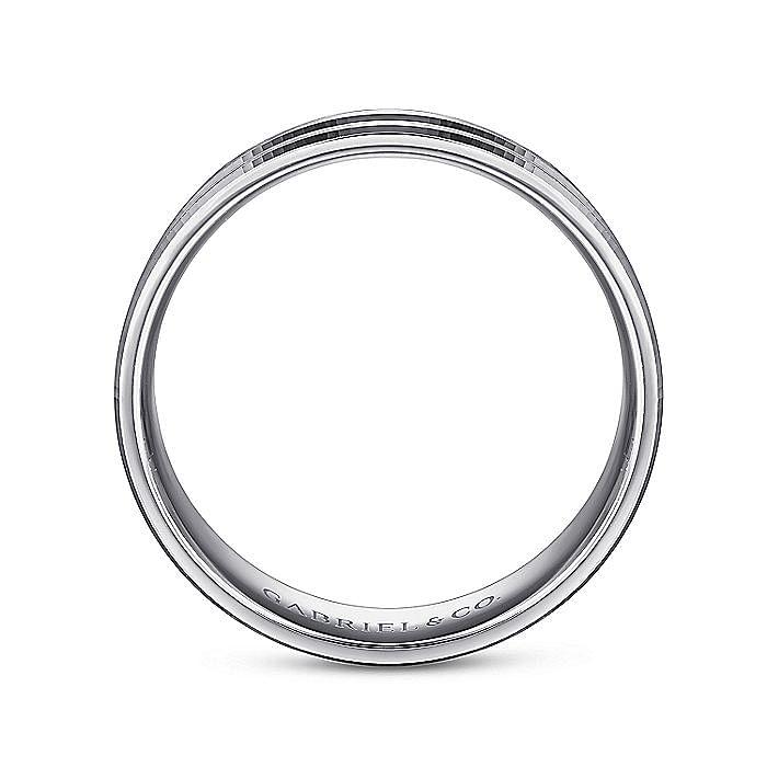 14K White Gold 6mm - Engraved Channel Men's Wedding Band