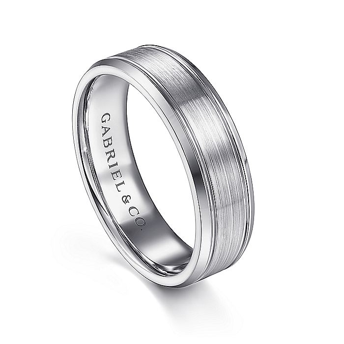 14K White Gold 6mm - Satin Channel Polished Edge Men's Wedding Band