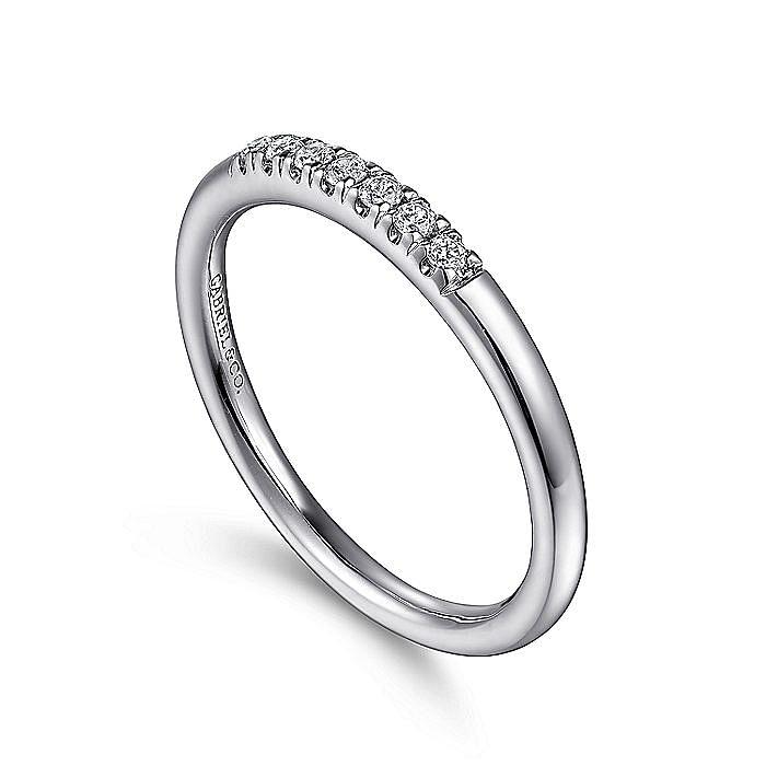 14K White Gold 7 Stone French Pavé Set Diamond Wedding Band