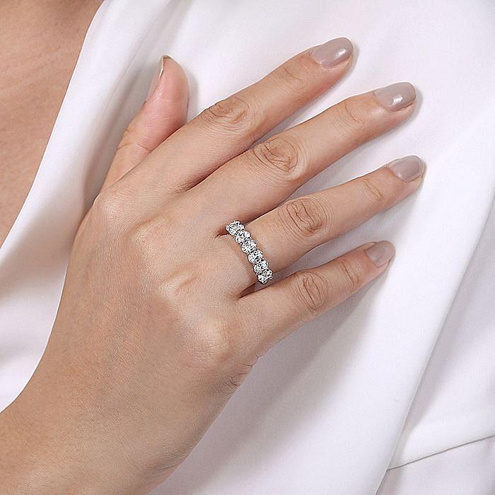 14K White Gold 7 Stone Oval Diamond Anniversary Band