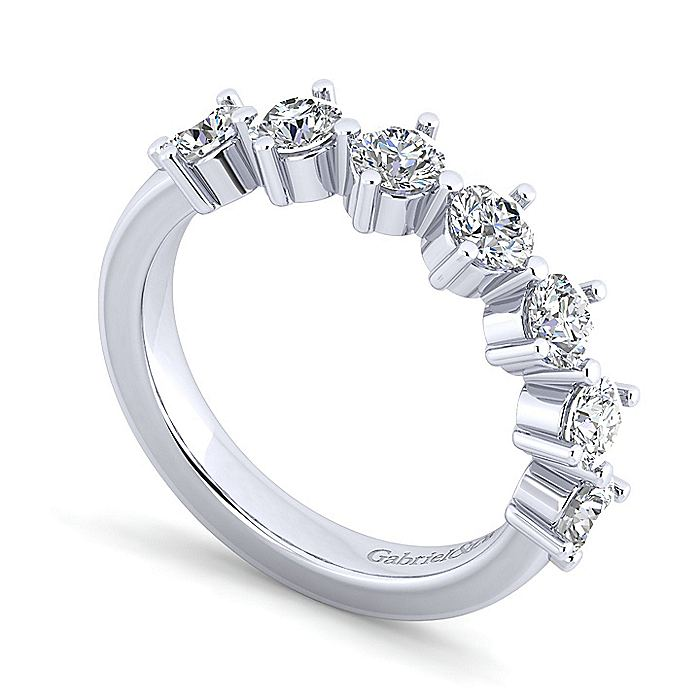 14K White Gold 7 Stone Single Prong Diamond Anniversary Band