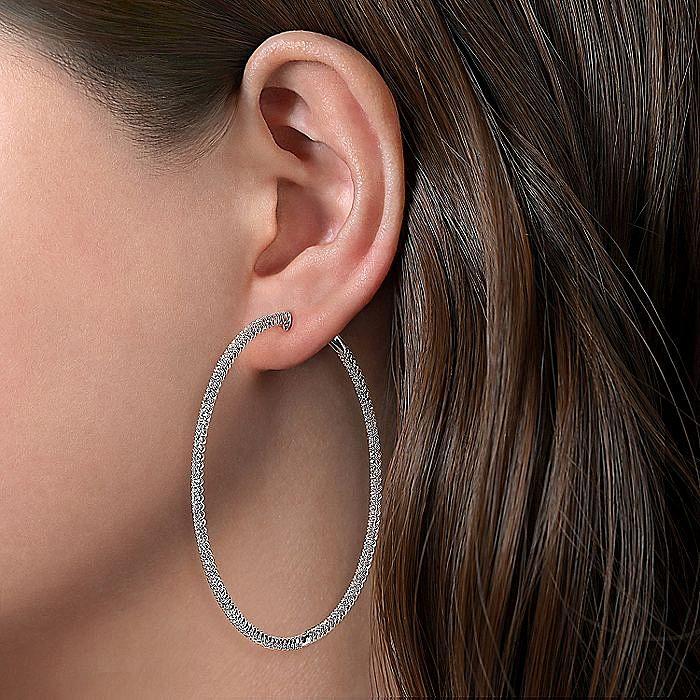 14K White Gold 70MM Diamond Earrings