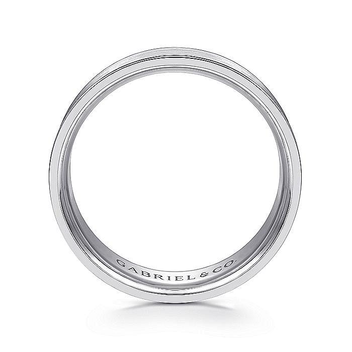 14K White Gold 7mm - Satin Finish and Polished Edge Men's Wedding Band