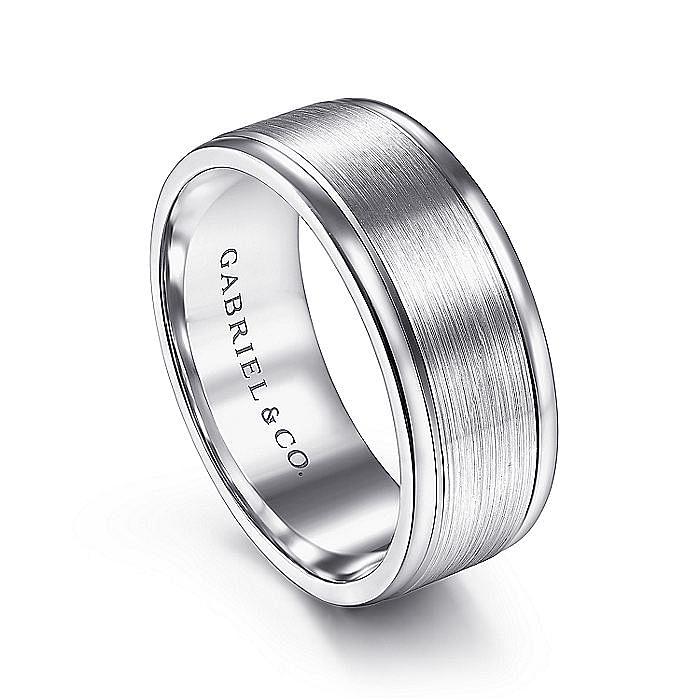 14K White Gold 8mm - Satin Center and Polished Edge Men's Wedding Band