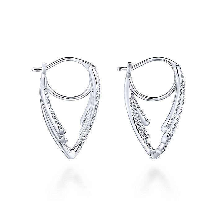 14K White Gold Abstract Curved Diamond Earrings