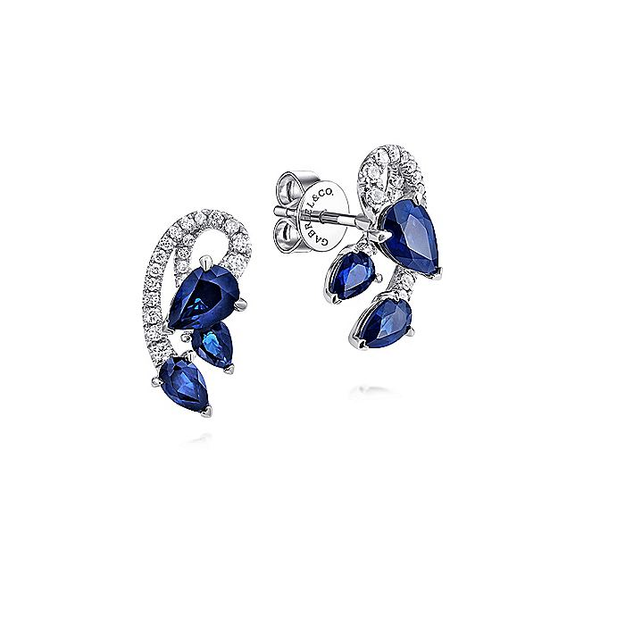 14K White Gold Abstract Curving Sapphire and Diamond Stud Earrings