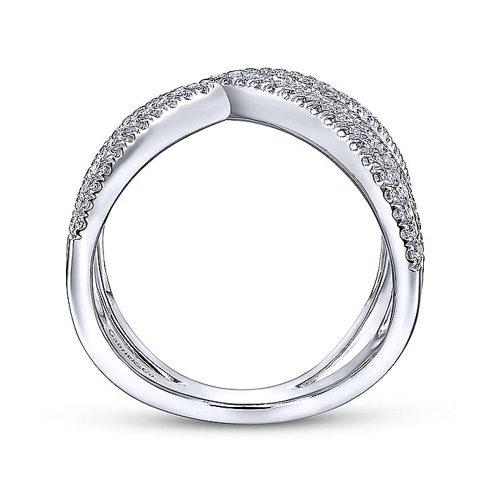 14K White Gold Abstract Diamond Pavé Bypass Open Ring