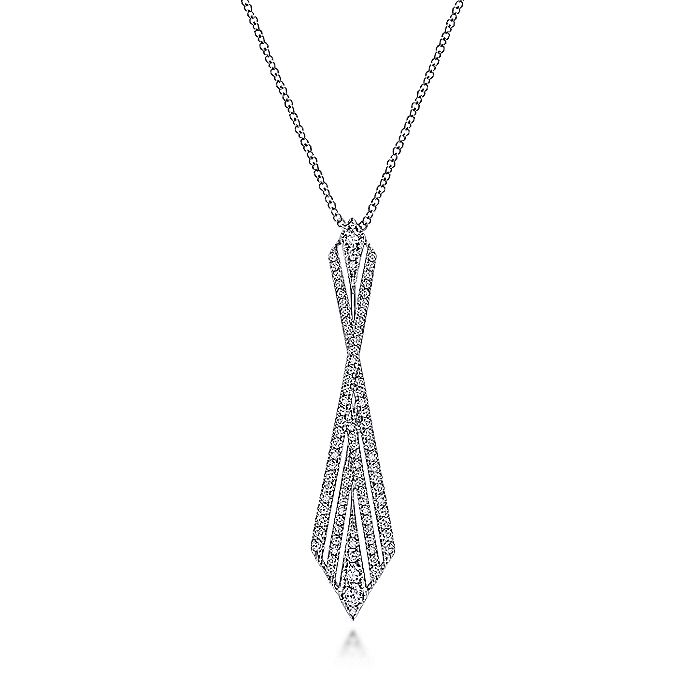 14K White Gold Abstract Diamond Pendant Necklace