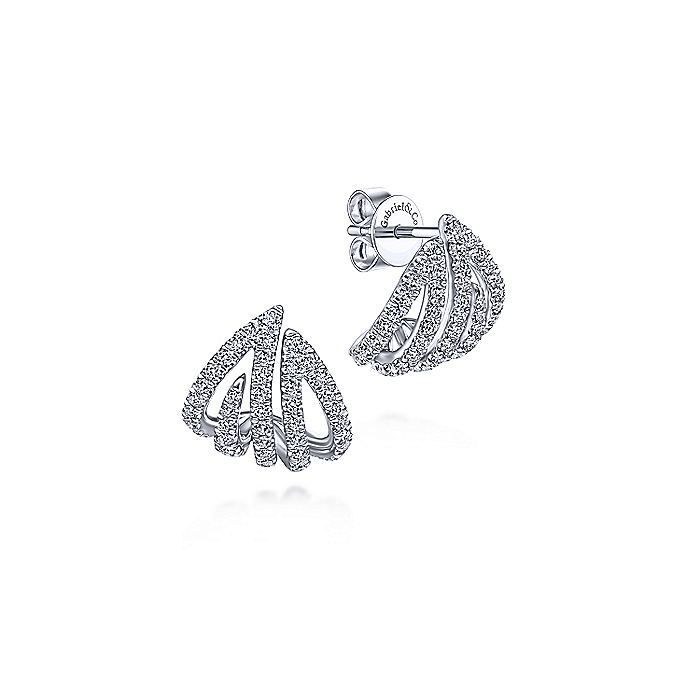 14K White Gold Abstract Diamond Stud Earrings
