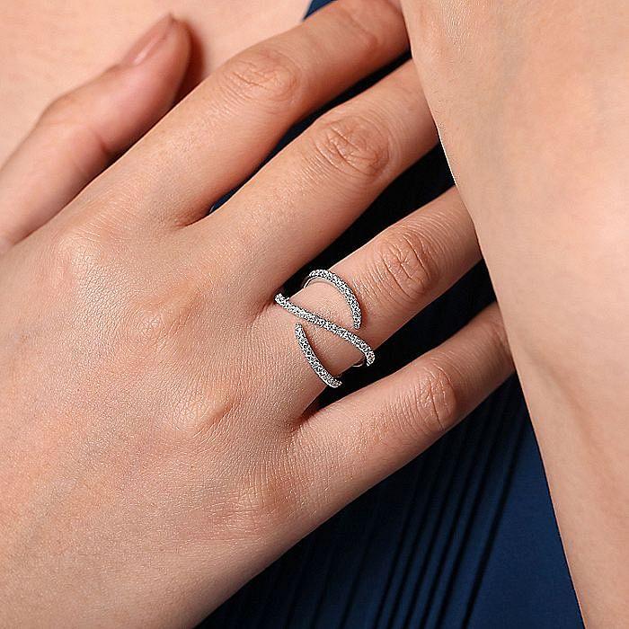14K White Gold Abstract Diamond Wrap Ring