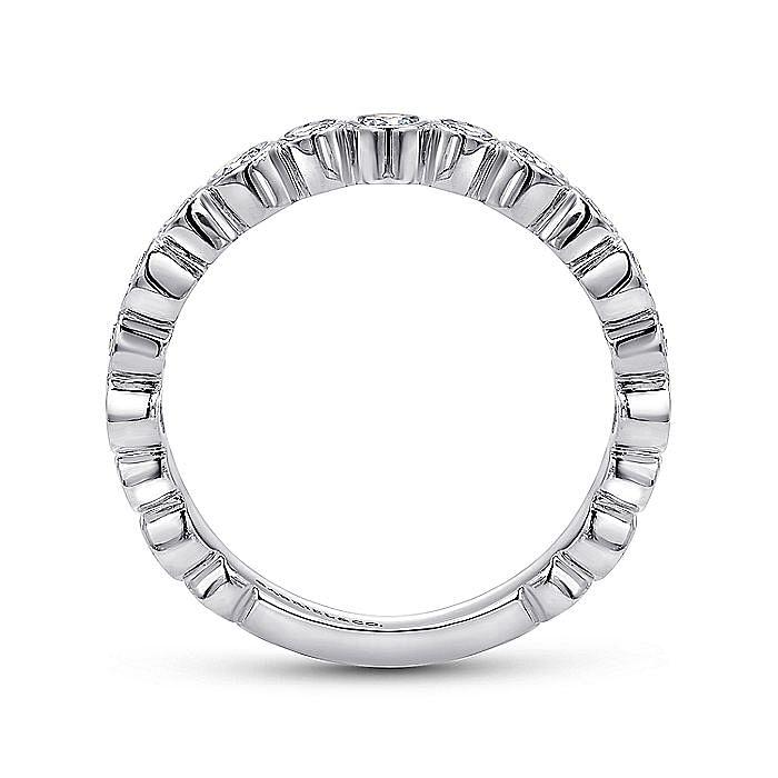 14K White Gold Alternating Bezel Set Stackable Diamond Band