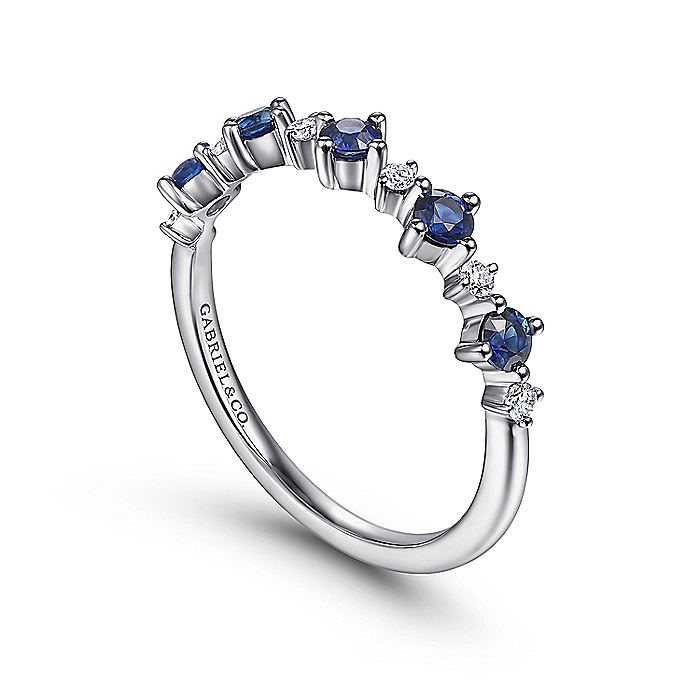 14K White Gold Alternating Round Diamond and Sapphire Ring