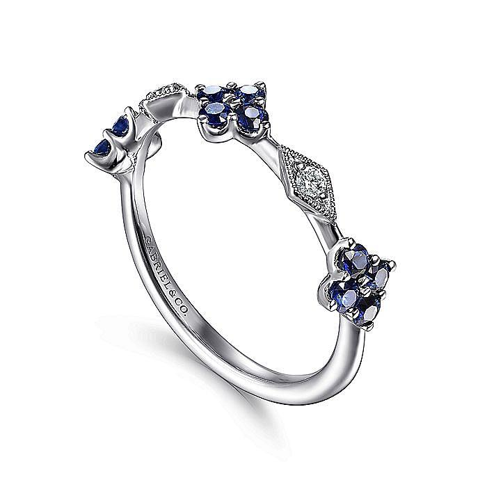 14K White Gold Alternating Sapphire and Diamond Station Ring