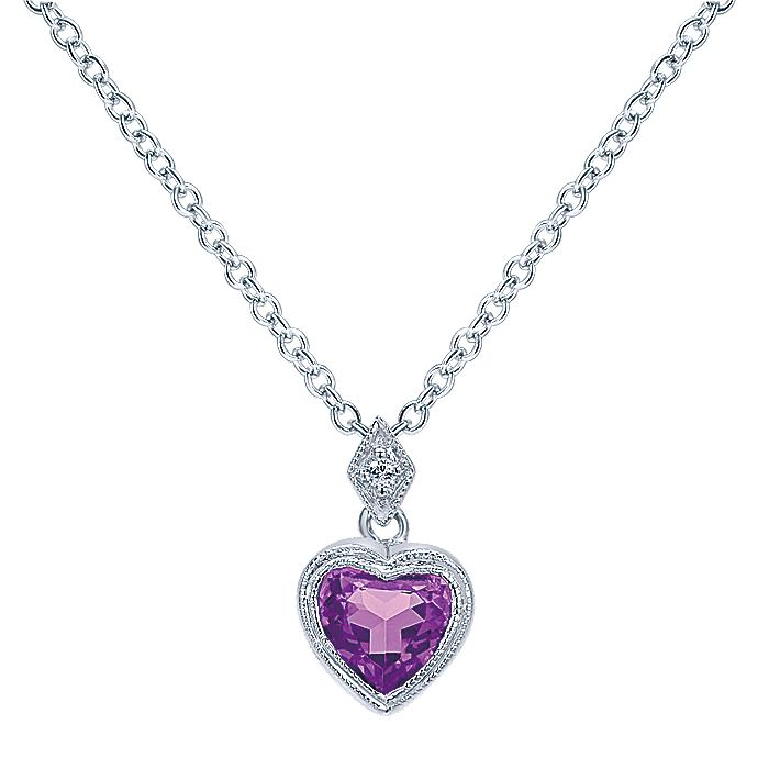 14K White Gold Amethyst & Diamond Heart Necklace