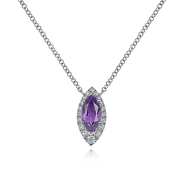 14K White Gold Amethyst Marquise and Diamond Halo Pendant Necklace