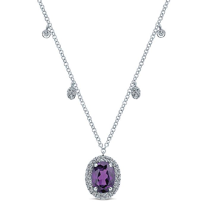 14K White Gold Amethyst Oval and Diamond Halo Pendant Necklace with Side Drops