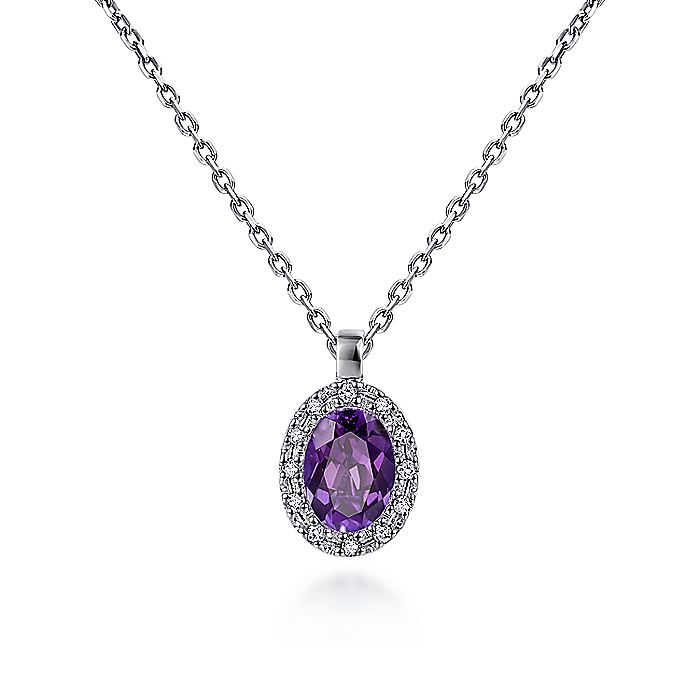 14K White Gold Amethyst and Diamond Halo Drop Necklace