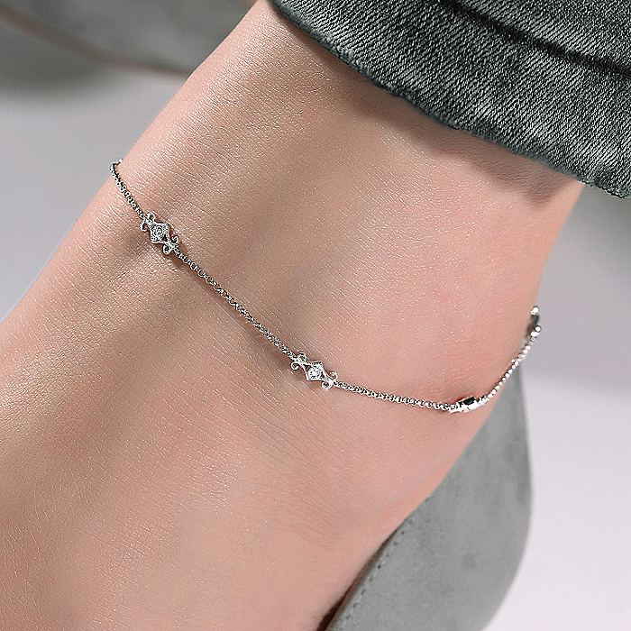 14K White Gold Ankle Bracelet with Swirly Diamond Stations
