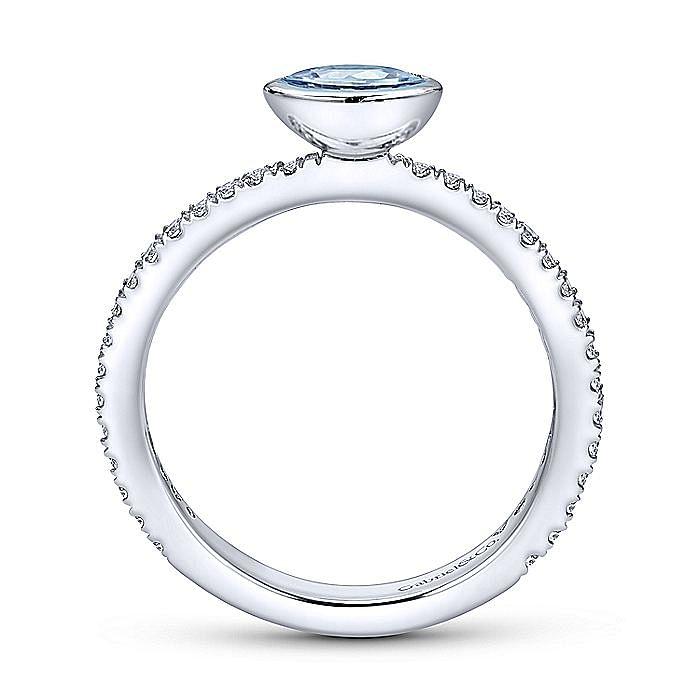 14K White Gold Aquamarine Marquis and Diamond Ring