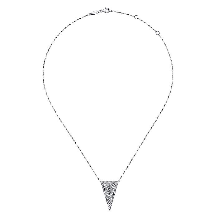14K White Gold Art Moderne Triangular Diamond Pendant Necklace