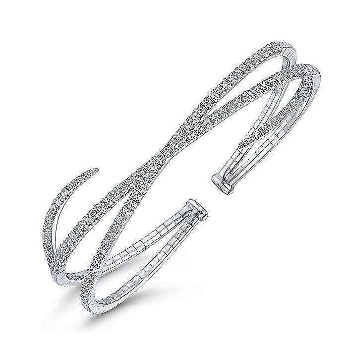 14K White Gold Asymmetrical Criss Cross Diamond Bangle