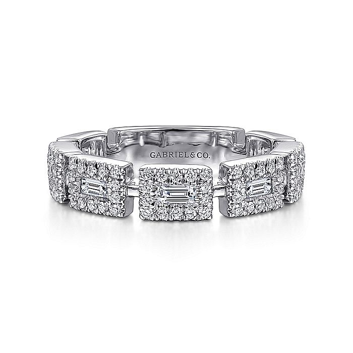 14K White Gold Baguette and Round Diamond Station Ring