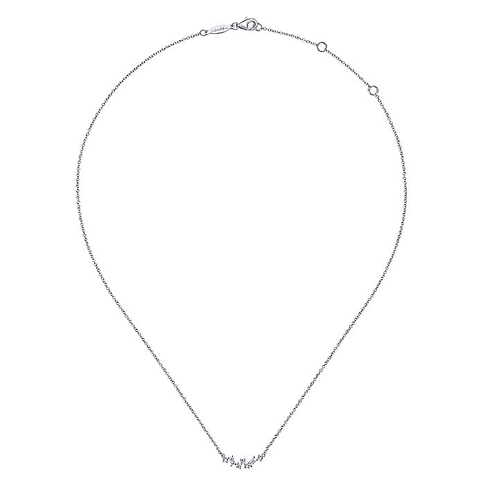 14K White Gold Baguette and Round Diamond Zig Zag Necklace